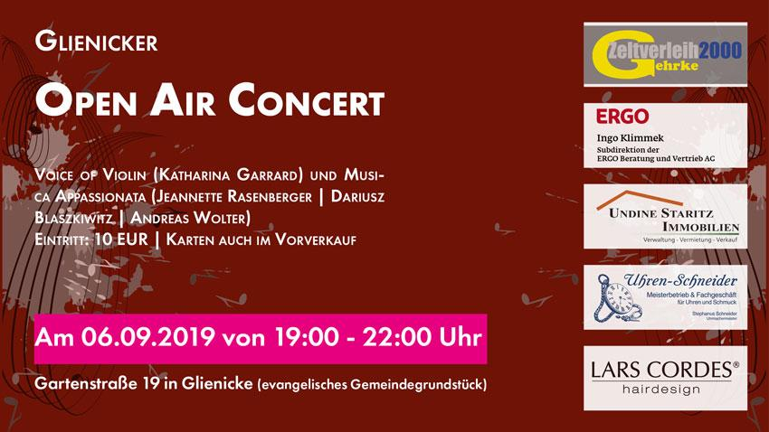 Werbebanner: Glienicker Open Air Concert