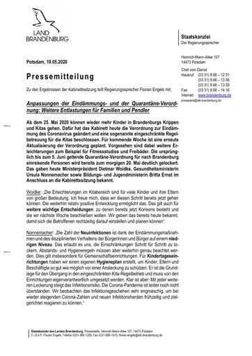 Pressemitteilung vom 19.05.2020: Weitere Entlastungen für Familien und Pendler