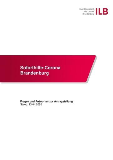 FAQ Soforthilfe Corona Brandenburg