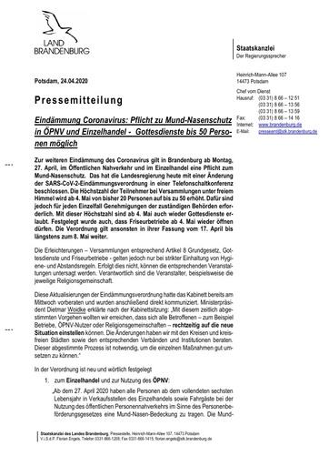 Brandenburg: Corona Maskenpflicht