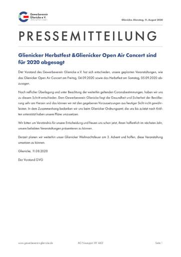 GVG: Pressemitteilung vom 11.08.2020