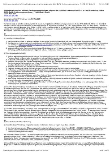 Siebte Verordnung über befristete Eindämmungsmaßnahmen aufgrund des SARS CoV 2 Virus und COVID 19 im Land Brandenburg