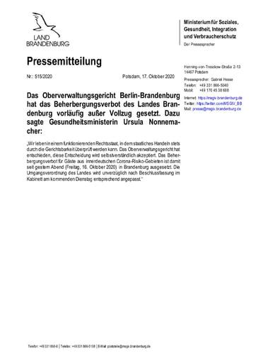 Pressemitteilung Land Brandenburg zum Beherbergungsverbot OVG Urteil 20201017