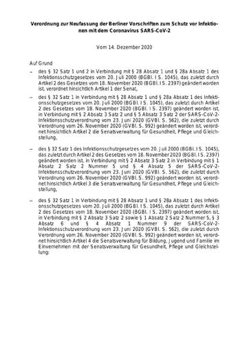 SARS-CoV-2-Infektionsschutzverordnung vom 14.12.2020 für Berlin