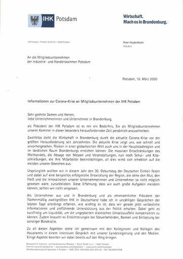 IHK Prasident Heydenbluth Schreiben zu Corona an Mitgliedsunternehmen