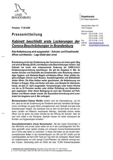 Kabinett beschließt erste Lockerungen (Pressemitteilung - Land Brandenburg)