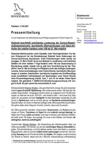 PM: Kabinett Corona Lockerungen 11.05.2021