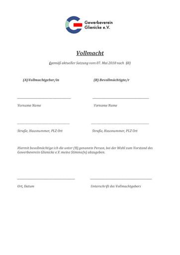 Wahlvollmacht des Gewerbevereins Glienicke e.V.