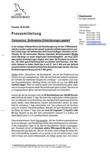 Pressemitteilung vom 6. Mai 2020 - Corona Erleichterungen (Brandenburg)