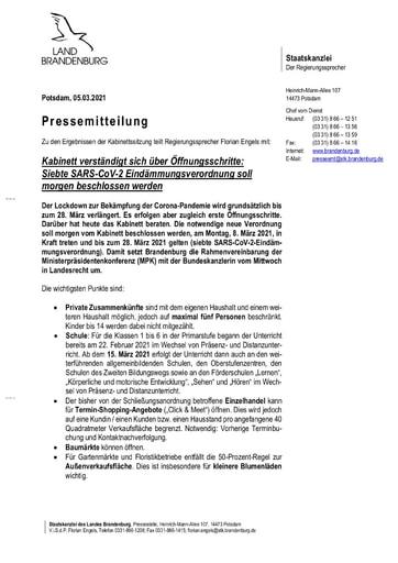 PM Kabinett 7 SARS CoV 2 Eindaemmungsverordnung