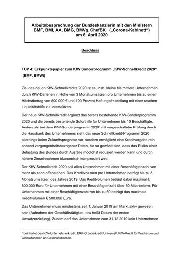 Eckpunktepapier zum KfW Sonderprogramm