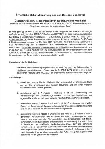 Öffentliche Bekanntmachung des Landkreises Oberhavel vom 31.03.2021