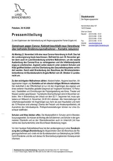 SARS CoV 2 Eindaemmungsverordnung 30.10.2020