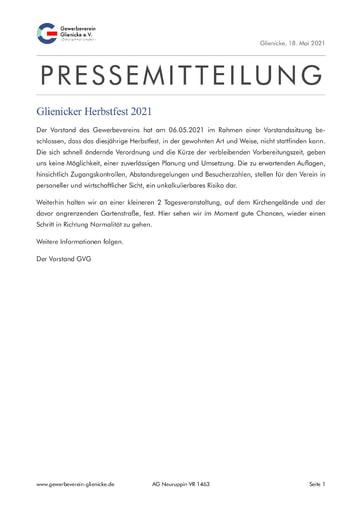 Pressemitteilung: Glienicker Herbstfest 2021 (210518)