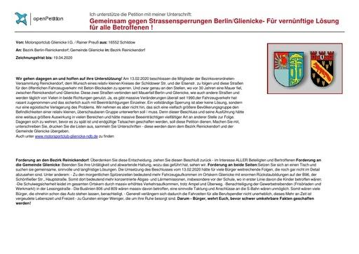 Unterschriftenformular << Gemeinsam gegen Strassensperrungen Berlin/ Glienicke für vernünftige Lösung für alle Betroffenen!